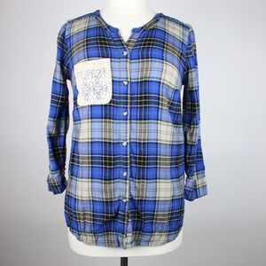 LUCKY BRAND Plaid Lace Pocket Shirt SMALL